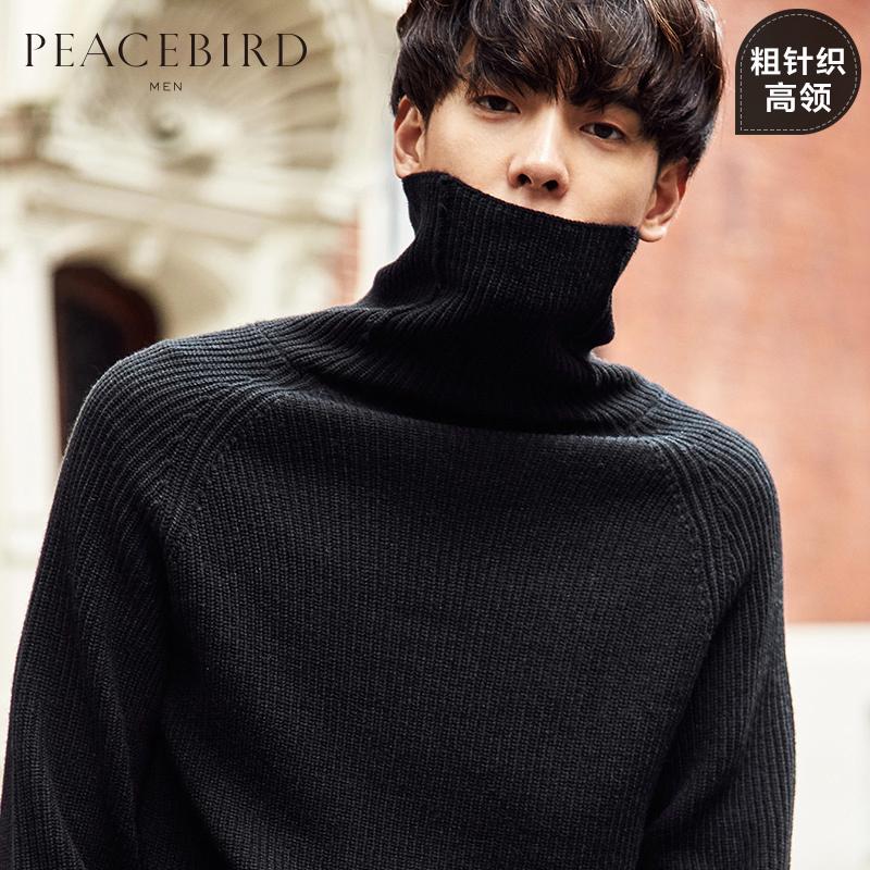 太平鸟男装羊毛衫男士韩版潮牌保暖黑色套头高领毛衣男 BWEB74106