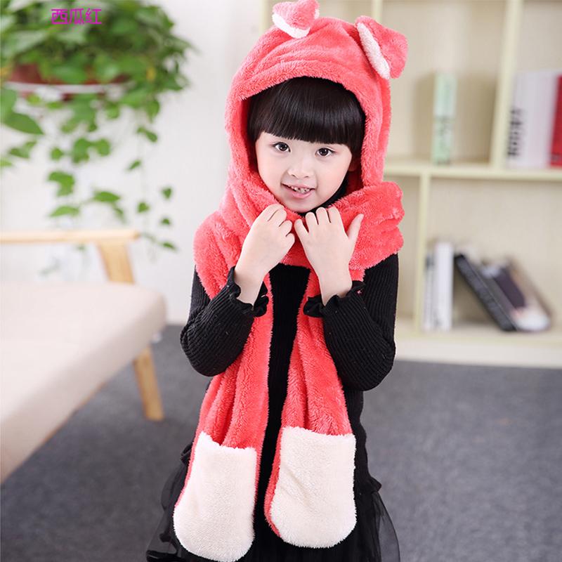帽子女冬小女孩帽小动物加绒加厚7-14岁女童帽围巾手套套装护耳帽