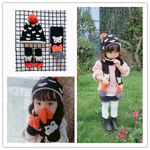 INS autumn and winter children's hat scarf gloves for boys and girls three pieces of baby knitted love bear double layer thickening