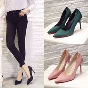 Special offer every day work shoes with matte black suede shoes pointed heels occupation wedding shoes