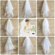 The new bride Korean wedding veil short hair comb with simple bare head multi puff brigade took the veil