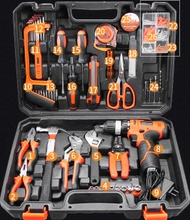 Drill hardware tool kit set multifunctional household portable plastic small car repair kit
