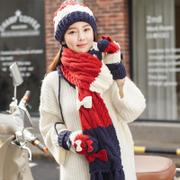 Siggi hat scarf gloves three-piece han edition tide female autumn/winter days lovely bowknot add wool warm suits