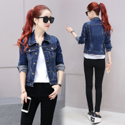 Slim cropped denim Jacket Women's Spring Autumn student Joker jeans loose long sleeve slim Korean Jacket Women