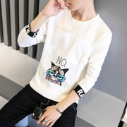 Autumn and winter men's long-sleeved T-shirt and cashmere Slim round neck shirt Hedging Wei tide students warm clothes Men