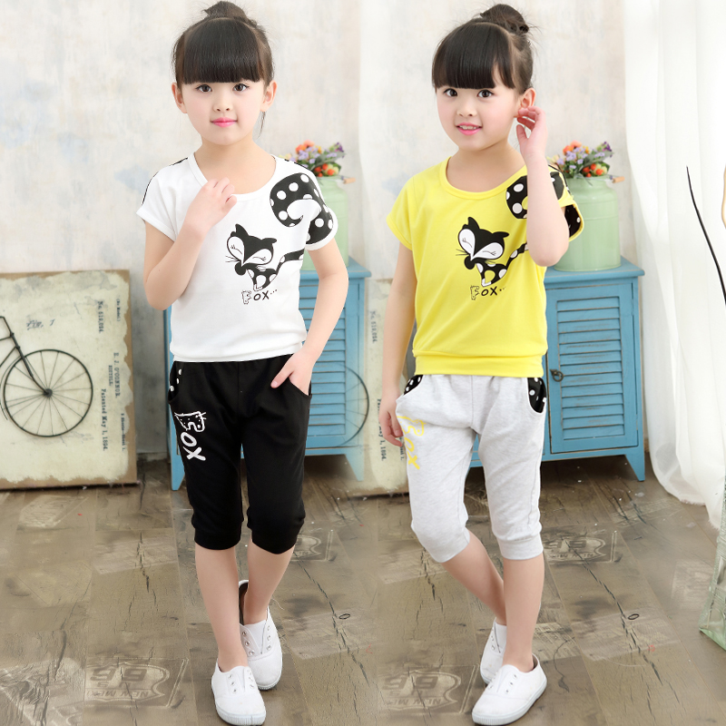 Girls in small summer new children sports suit baby shorts two piece children's leisure clothes tide
