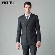 VICUTU/ men's suits with victu business suits three button double breasted wool suit