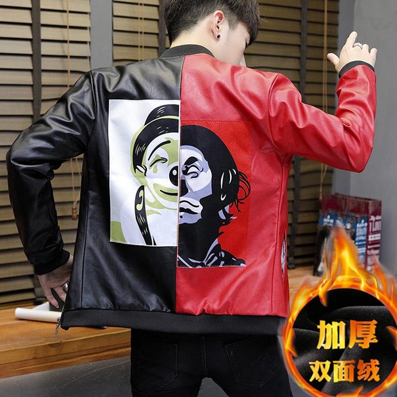 2017新款潮流韩版社会人外套男冬季修身精神小伙网红个性帅气衣服