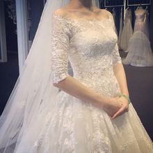 2017 new bride wedding dress a slim tail sleeve shoulder women Korean Qi Winter Wedding