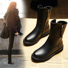 In 2017 new winter boots female boots leather thick with thick soles all-match boots boots boots boots cotton sub Martin