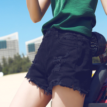 Black denim shorts female summer 2018 new slim high waist Korean version of loose students wild a word wide leg hot pants