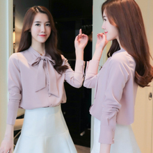 2017 women fall new collar bow tie long sleeved chiffon shirt bottoming shirt