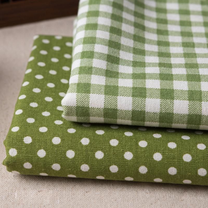 出口日韩棉麻布亚麻格子布zakka田园麻布布料桌布窗帘布绿色格子