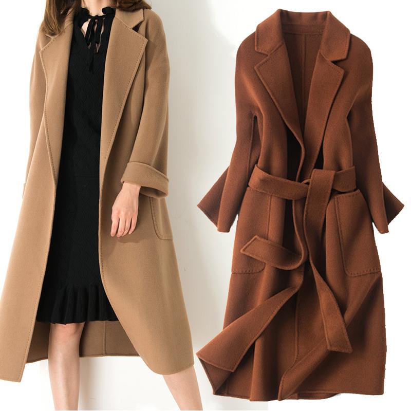 双面羊绒大衣女中长款2017新款秋冬过膝100%羊毛焦糖色毛呢外套