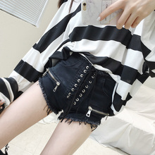 MANBO slim waisted denim shorts female Korean burr summer thin Cross Lacing personality before gear shorts