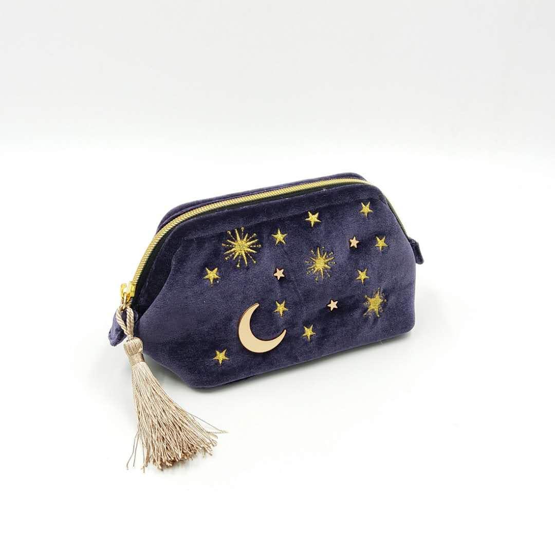日单毛绒化妆包 金丝绒面料金色星星月亮镶嵌刺绣化妆包日本风格
