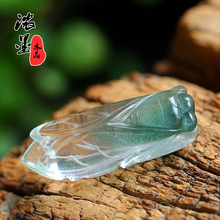 Deep dark green ghost pendant sounds amazing green ghost cicada knows the natural stone polishing of crystal pendant