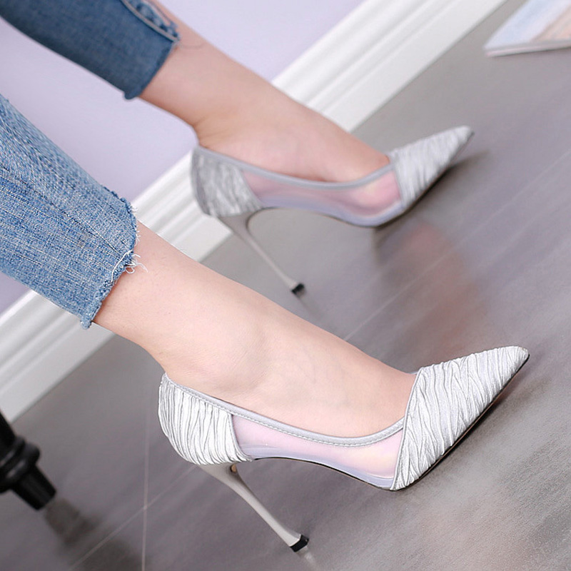 High heels with a fine all-match shallow mouth shoes 2017 Korean summer new sexy shoes silver hollow gauze