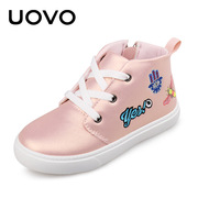 Uovo Children's shoes 2017 new sports shoes middle and large child casual shoes belt bright face boy girl sports shoes
