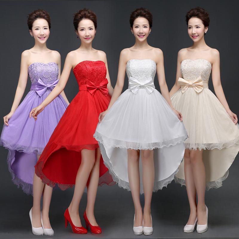 前短后长晚会主持人晚礼服年会新娘伴娘结婚服装女司仪婚礼裙衣服