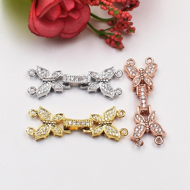 925银扣子配件 diy蝴蝶结双排花式扣 两层珍珠手链项链扣子