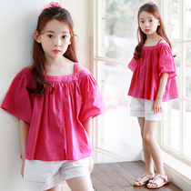 2017 South Korea summer baby clothes new girls bare shoulder strap t shirt large baby fresh pure cotton short sleeve top