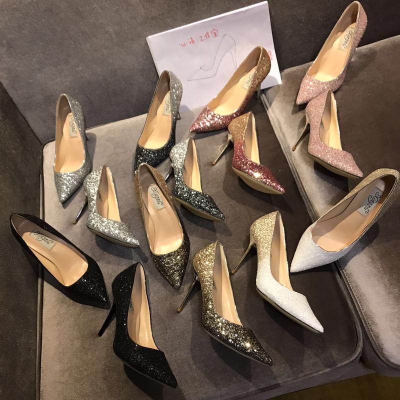 羊皮银色婚鞋女中跟新娘鞋婚纱高跟鞋礼服宴会渐变亮片细跟尖头鞋