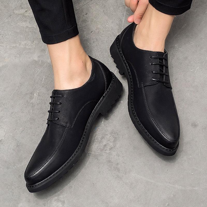 韩版皮鞋男士英伦商务休闲黑色真皮发型师内增高尖头结婚冬季加绒