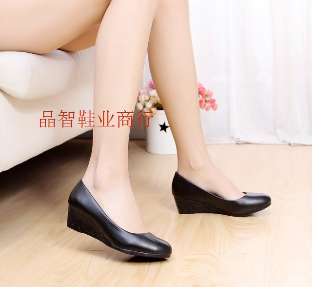 Direct-soft upper leather women shoes ladies shoes in women's shoes women's spring 4 cm wedges shoes for mail