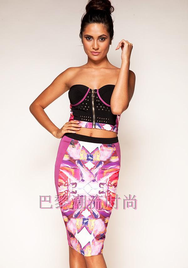 European and American star with a new stamp split fashion sexy bra dress dress show sweet bandage