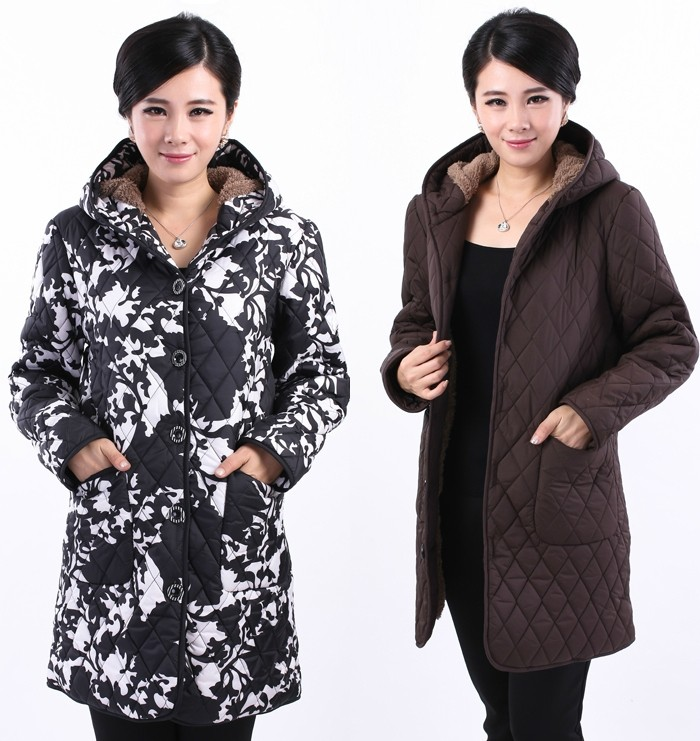 Middle-aged and old women's winter cotton-padded jacket coat of middle-aged mother pack cotton quilted jacket fertilizer plus-size 6 xl thickening