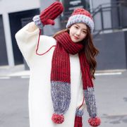 Siggi hats, scarves, gloves, three sets of women, winter, Korean tide, cashmere, thickening, warm knitting sweater