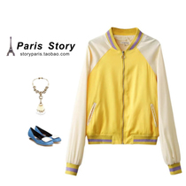 Women single tail domestic cutting in autumn and winter the big Europe yellow raglan sleeves collar zipper jacket
