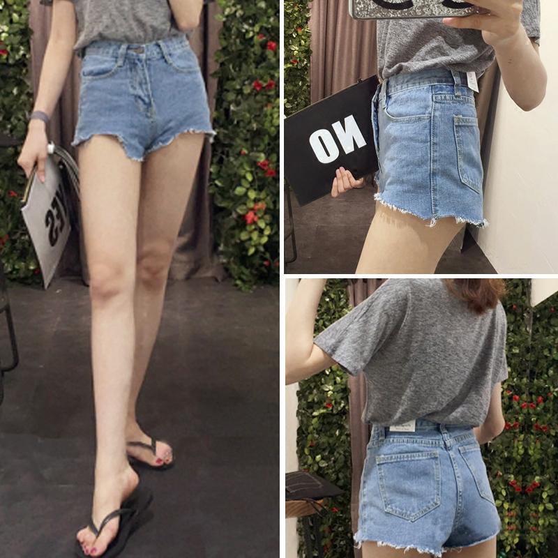 显腿长显瘦aa超短裤款夏装学生撕边流苏高腰磨边性感牛仔裤热裤女