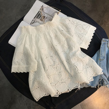 2017 summer NEW WOMENS cotton half sleeve shirt Korean fan Strapless Lace Top tide shoulder word
