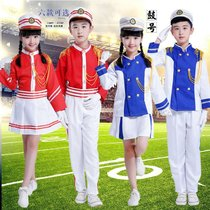 New children garment guard bands show the young pioneers drum team flag raisers take drum drummer costume
