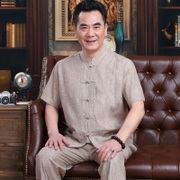 The middle-aged men's costume suit China cotton short sleeved summer wind in the elderly father put grandpa summer clothes
