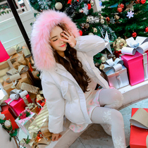 Li Xiaolu winter new Korea heavy hair collar long waist thickened white down jacket girls hooded wool coat