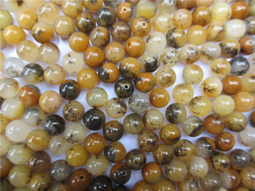 Natural huanglong jade plants loose beads DIY12MM treasure house jewelry beads jade bead Necklace Bracelet yellow