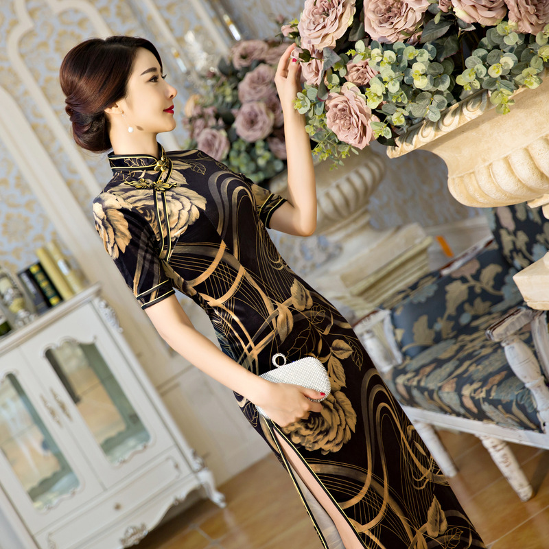 New maple mei silk cultivate one's morality comfortable high-grade silk long cheongsam Package buttocks dress wholesale a undertakes