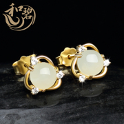 And the old pit and natural jade jewelry jade nephrite jade earrings earrings earrings Earrings 925 silver female models