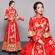 Baby with the bride wedding dress dress show Wo Chinese dress wedding dress 2017 new autumn Xiuhe dragon gown
