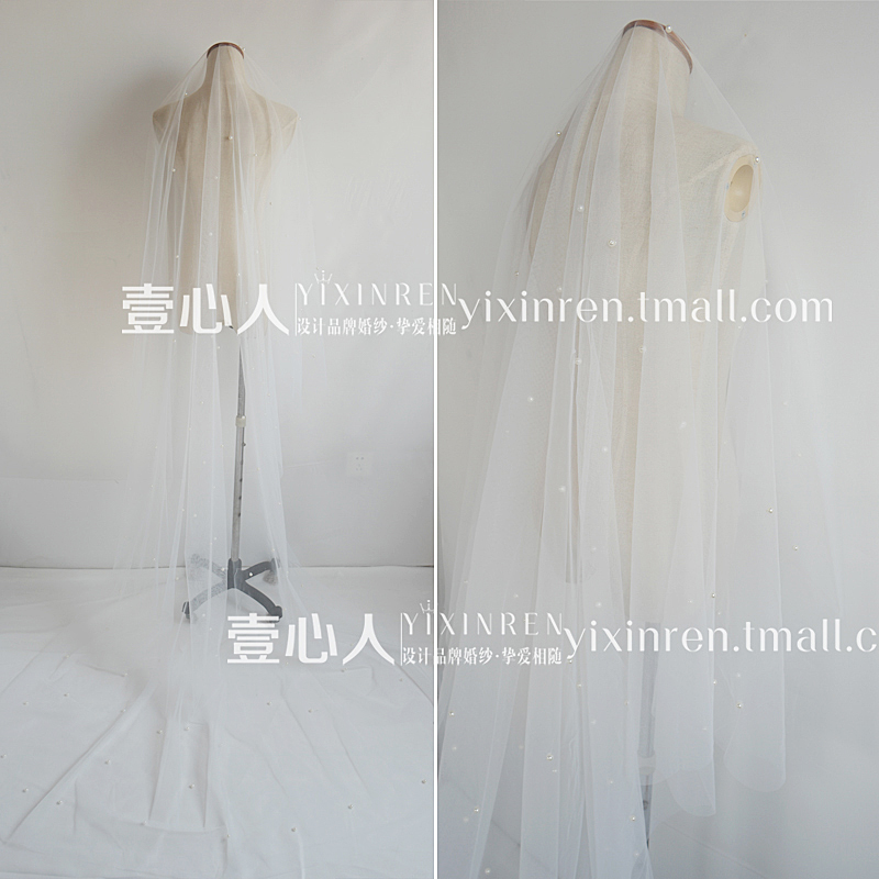 3M three meters pearl Veil Bride Wedding Accessories Korean style wedding celebration 2017 new super soft.