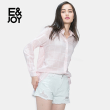 Etam/ Ejoy Etam autumn Plaid split 16081411408 female casual shirt