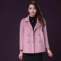 High-end handmade double-faced cashmere coat women short a words JIU sleeves wool coat double breasted