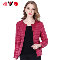 Autumn winter 2016 new Yalu lightweight down jacket outdoor round neck jacket short bi-girl Korean version of self in inverse season