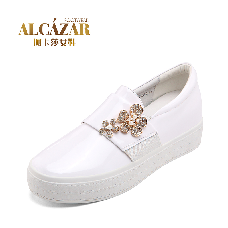 Akasha official flagship store Le Fusong cake flowers with spring new mirror leather metal women shoes