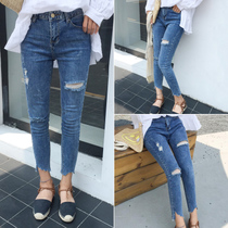 Ladies spring 2017 new Korean version of hole in the high waist stretch denim pants slim nine wild feet pencil pants