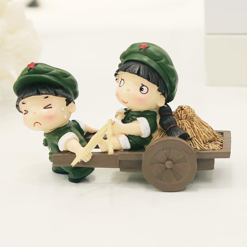 革命爱情系列 小兵树脂娃娃摆件结婚礼物家居装饰品 小红军摆设