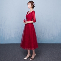 2017 new spring bride toast served pregnant women long wine red v neck high waist dress evening dress in summer